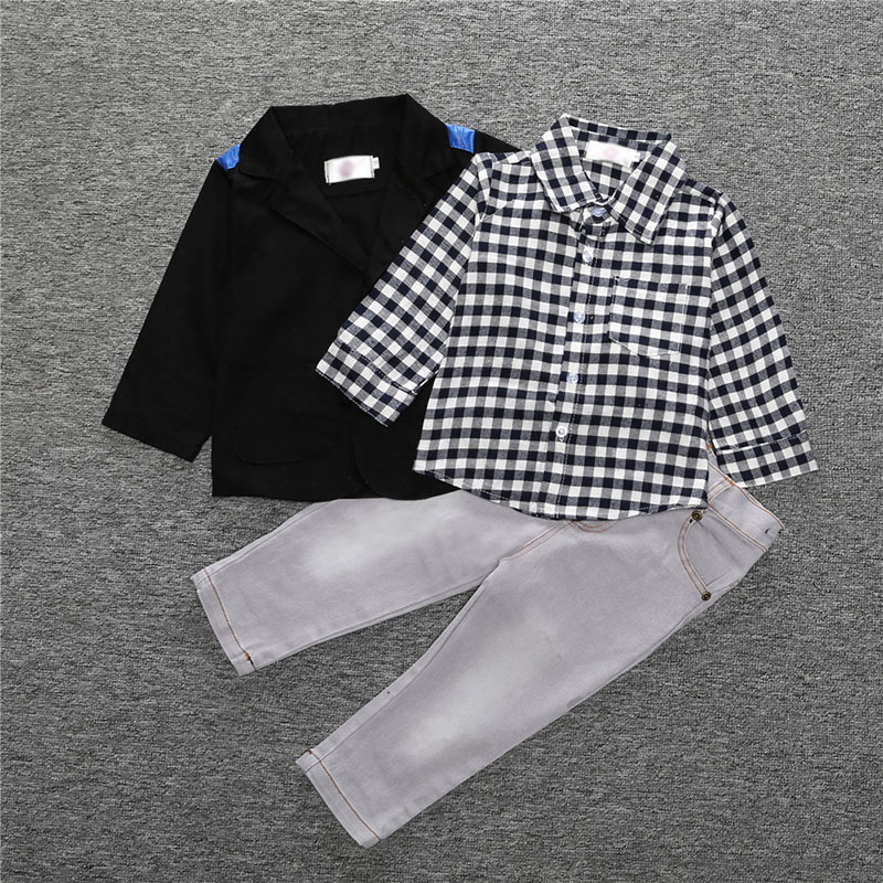 e8a0b66501526 Kids Boys Clothes Sets Spring Autumn Fashion Children Casual Gentleman  Costume Coat+Shirt+Pants 3PCS Baby Suit 2 3 4 5 6 7 Years