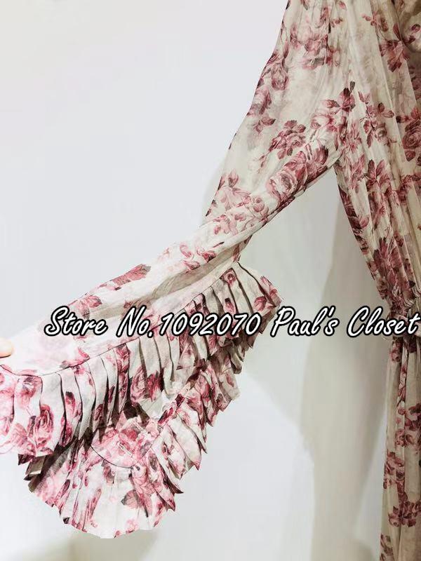 Femmes Wild Dans Débridée Cou Roses Sauvage Robe Midi La Cravate Floral ZxZrqwU7