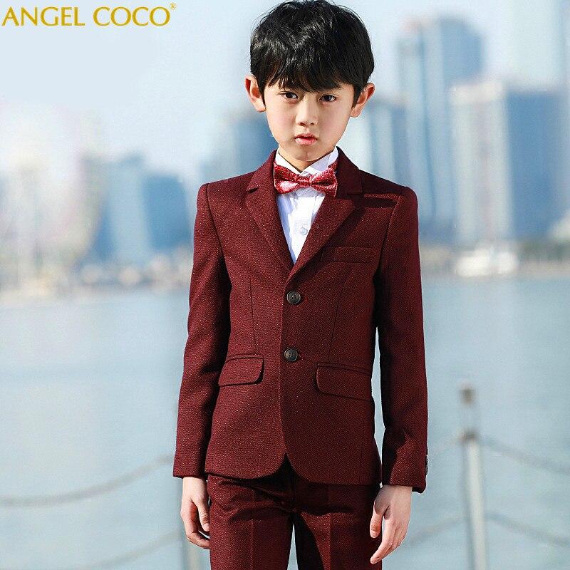 Anzüge Burgund Honeycomb Kaschmir Anzug 5 Stück Anzug Jacke/weste/hemd/hosen/fliege Terno Infantil Kostüm Enfant Garcon Mariage 100% Garantie Jungen Kleidung