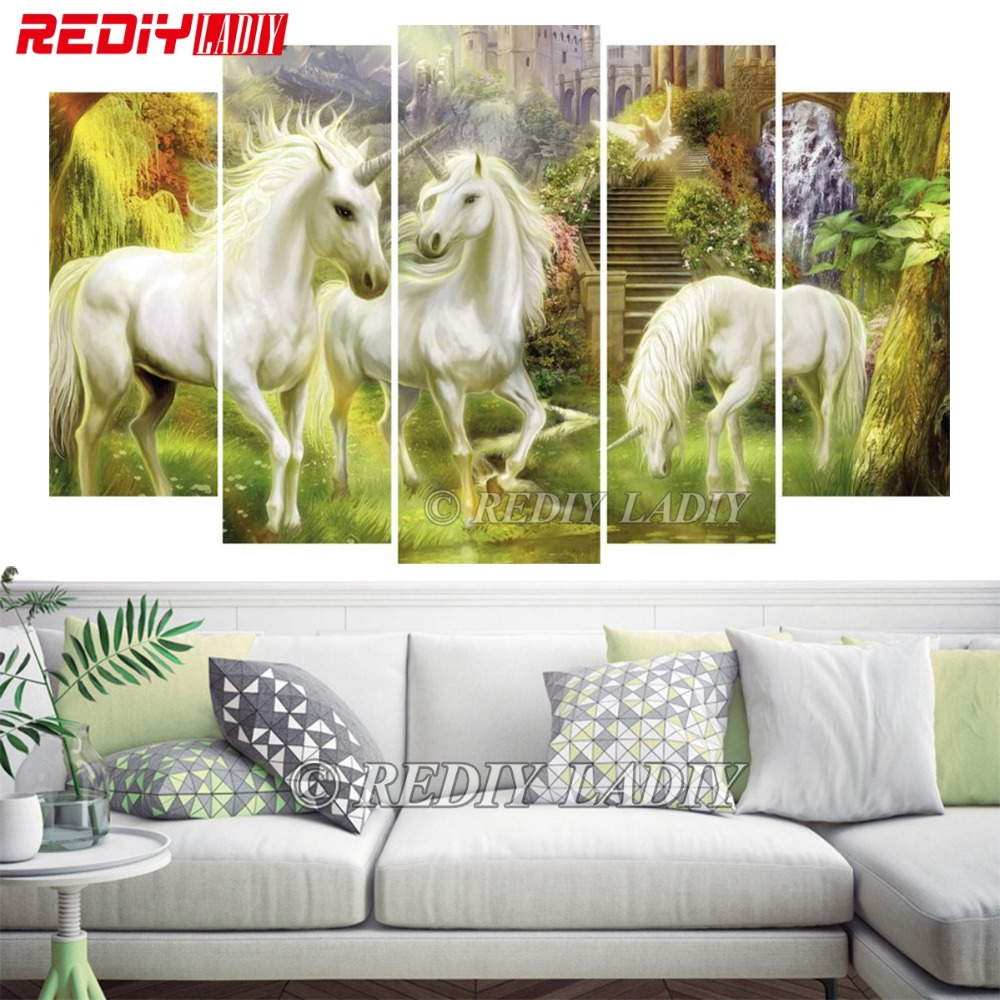 REDIY LADIY Diamond Embroidery Triptych Diamond Painting Cross Stitch Fantasy Unicorn 5 Panels Modular Picture Wall Art CraftsREDIY LADIY Diamond Embroidery Triptych Diamond Painting Cross Stitch Fantasy Unicorn 5 Panels Modular Picture Wall Art Crafts