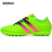 2016 Indoor Soccer Shoes Cleats Unisex Football Boots For Men Women Boys Girls TF Turf Sports Sneakers Soccer Cleats Mid High