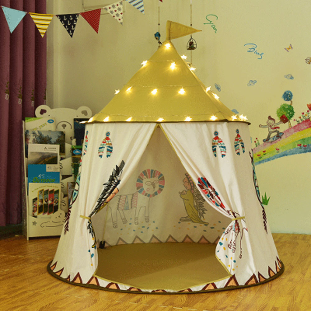 Tente pour enfants Wigwam Portable maison tipi enfants tente pliable accrocher drapeau princesse château maison des enfants jeu jouets