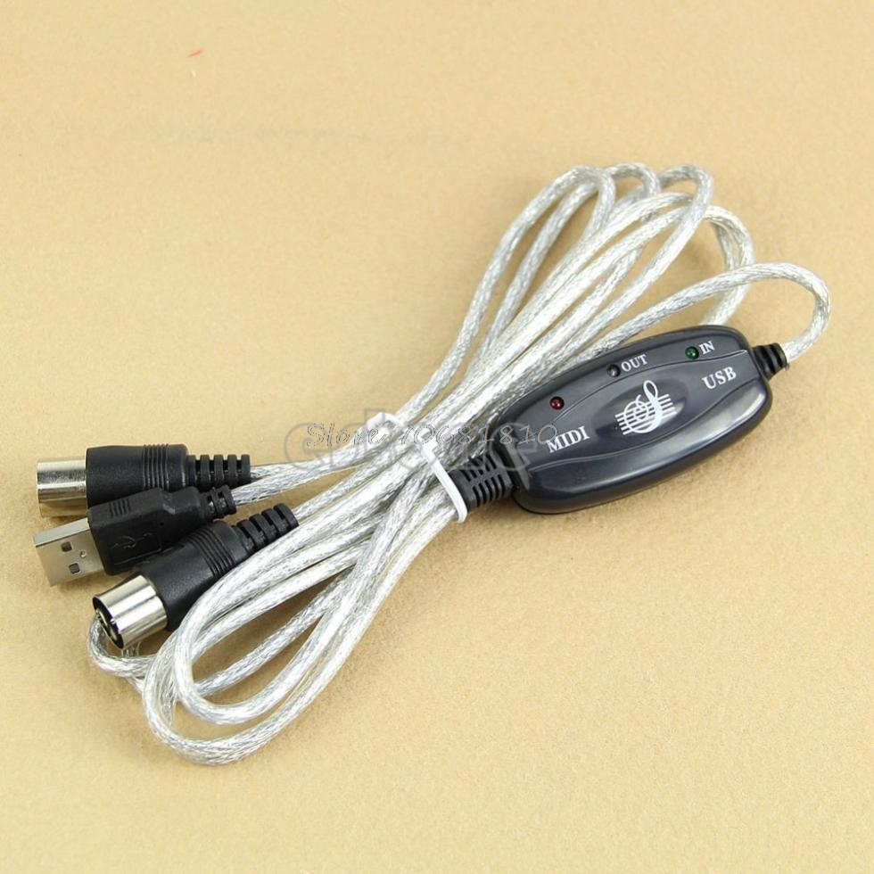MIDI USB IN-OUT Interface Cable Cord Line Converter PC to Music Keyboard Adapter -R179 Drop Shipping