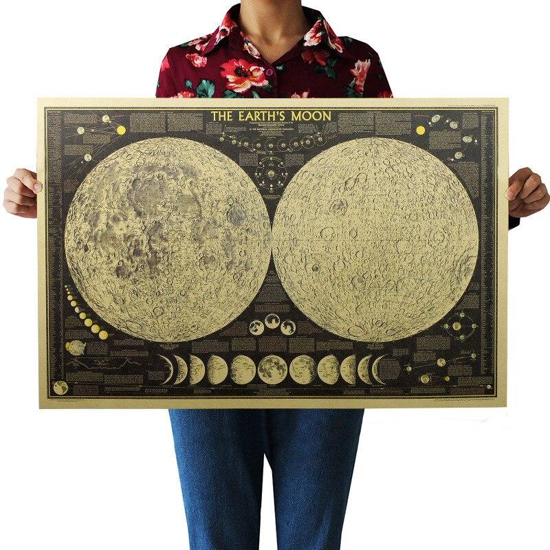 Urijk 1PC Total Lunar Eclipse Map Bar Cafe Retro Poster Wall Sticker Picture Home Decor Retro Kraft Paper Dropshipping