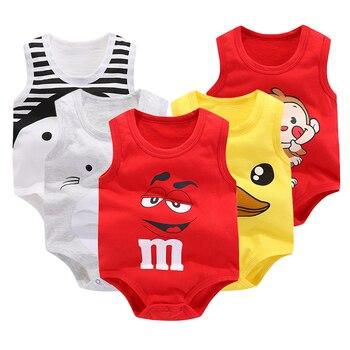 Newborn Baby Boys Girls Cartoon Cotton Bodysuit Infant Baby Bag Fart Sleeveless Vest Jumpsuit Summer Thin Penguin Pajamas Outfit