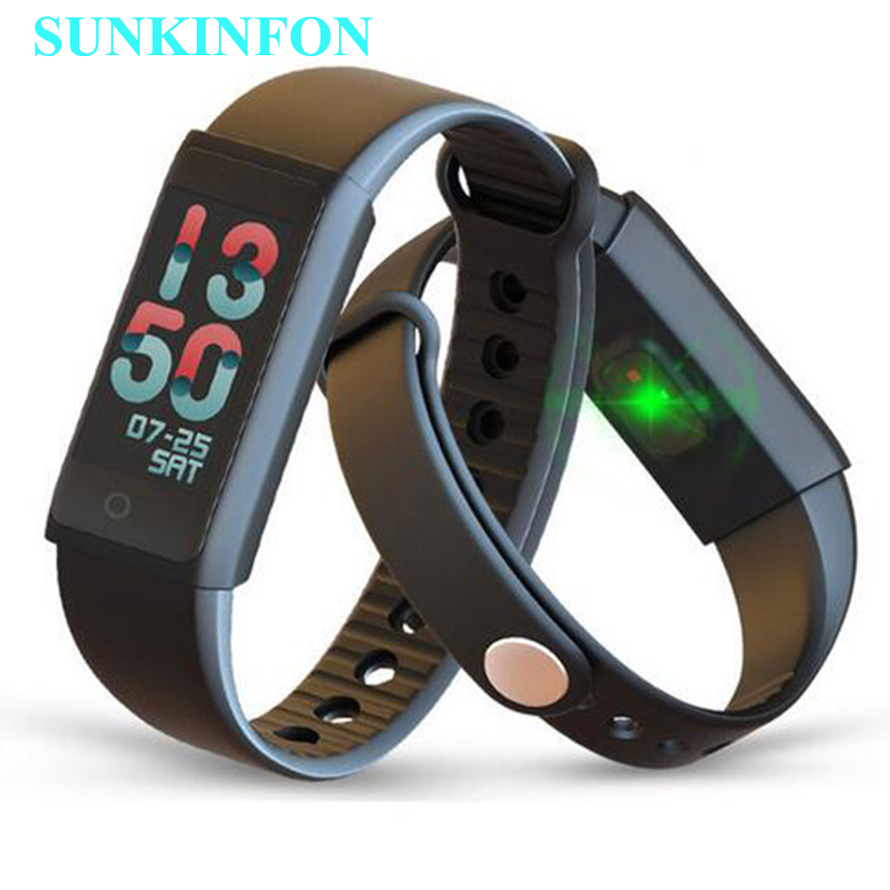 Heart Rate Smart Wristband Band Blood Pressure Monitor Pedometer Fitness Bracelet Color LCD for Huawei P9 Plus P8 Lite Mate S 9