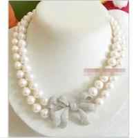 Beautiful NEW AAA double strands 10 11mm REAL ROUND south sea white pearl necklace,SILVER Clasp