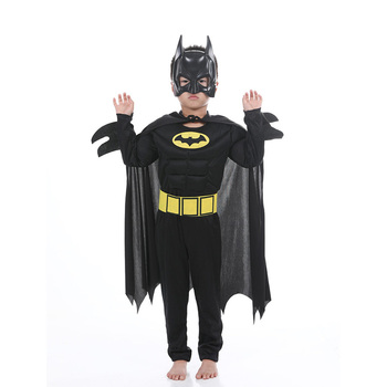Kids Boys Muscle Batman Costumes With Mask Cloak Movie Character Superhero Cosplay Halloween Masquerade Evening Superman Role Pl 3