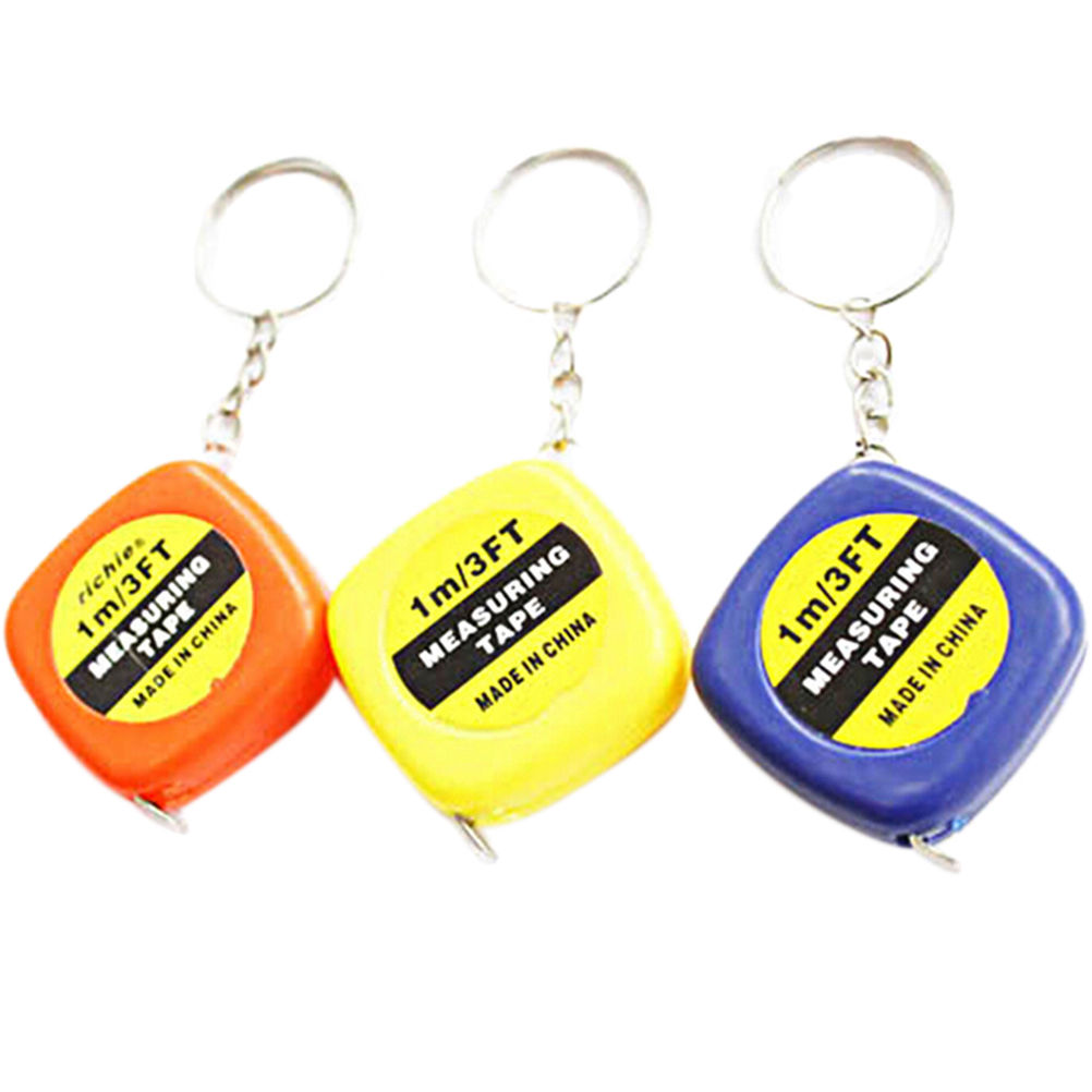 Mini Tape Measures Keychain Key Ring Easy Retractable Tape Measure Pull Ruler Color Random Measuring Tools 1M