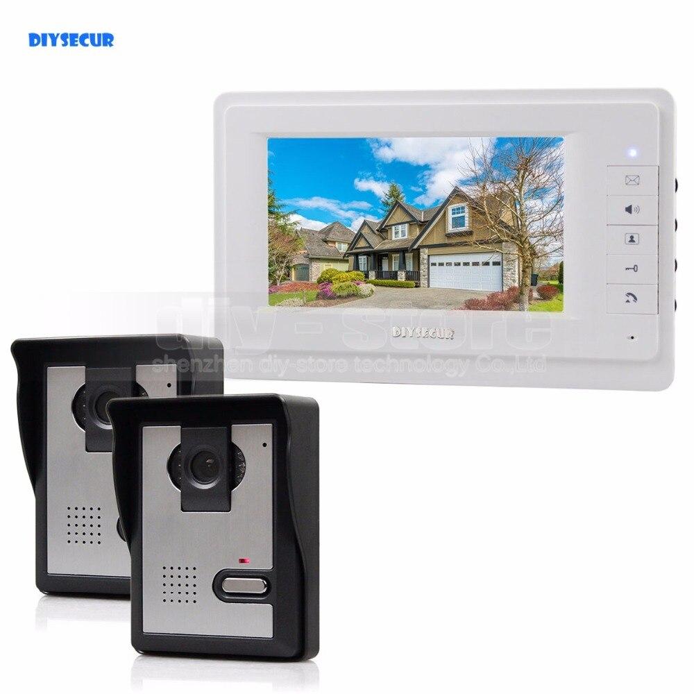 DIYSECUR 2 X 600TVLine HD Video Camera 7 Inch TFT Color LCD Display Video Door Phone Intercom Doorbell IR Night Vision