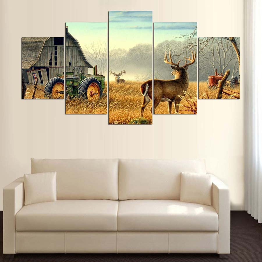 5 Piece Canvas Animal Whitetail Deers On Farm Wood House Tractor Canvas Picture Painting Decor Print Poster Wall Art Wd-1920 #5