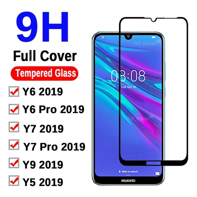 9H ป้องกันกระจกบน Y6 2019 สำหรับ Huawei Y6 Prime Y7 Pro Y5 Y9 Y 5 6 7 9 2019 ฟิล์มกระจกนิรภัยป้องกันหน้าจอ Glas