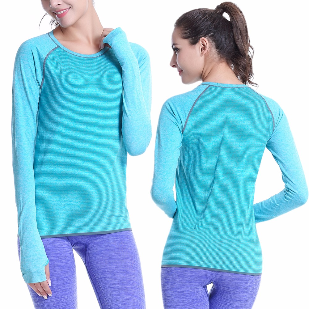 Women Fitness Shirts Professional Sports Long Sleeve Workout Gym Yoga Running T-shirt Exercise Training Elastic Tops Outdoor