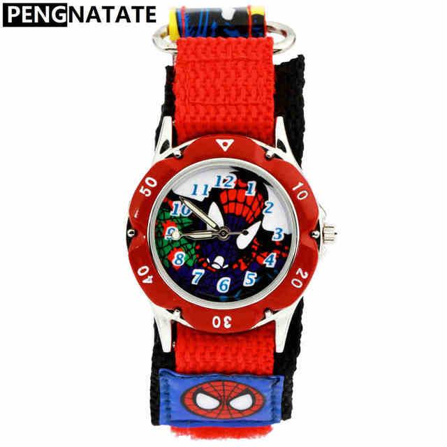PENGNATATE Brand Watch Kids Nylon Strap Children Boys Spiderman Cartoon Bracelet