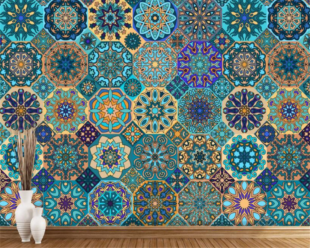 beibehang wall papers home decor Custom three-dimensional fashion European retro pattern stitching background wallpaper