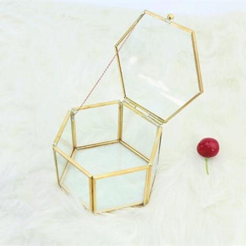 Gift-Boxes Wedding-Party Golden Glass Hexagon Frame ZF01 Copper High-Grade
