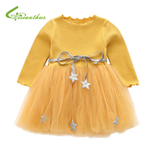 Spring Autumn Long Sleeves Children Girl Clothes Casual Mesh Dress for Girls Mini Tutu Dress Kids Girl Party Wear Clothing