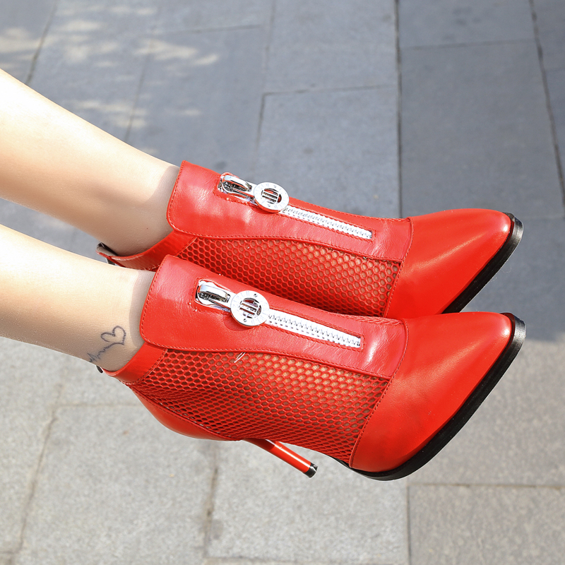 En Noir Blanc D'été Vache Bottes Chaussures Découpes Cheville blanc 9 Zipper Rouge Femmes Hauts Mince Cm rouge Femme Mode Talons Nouvelle Noir Cuir RdXrwxd
