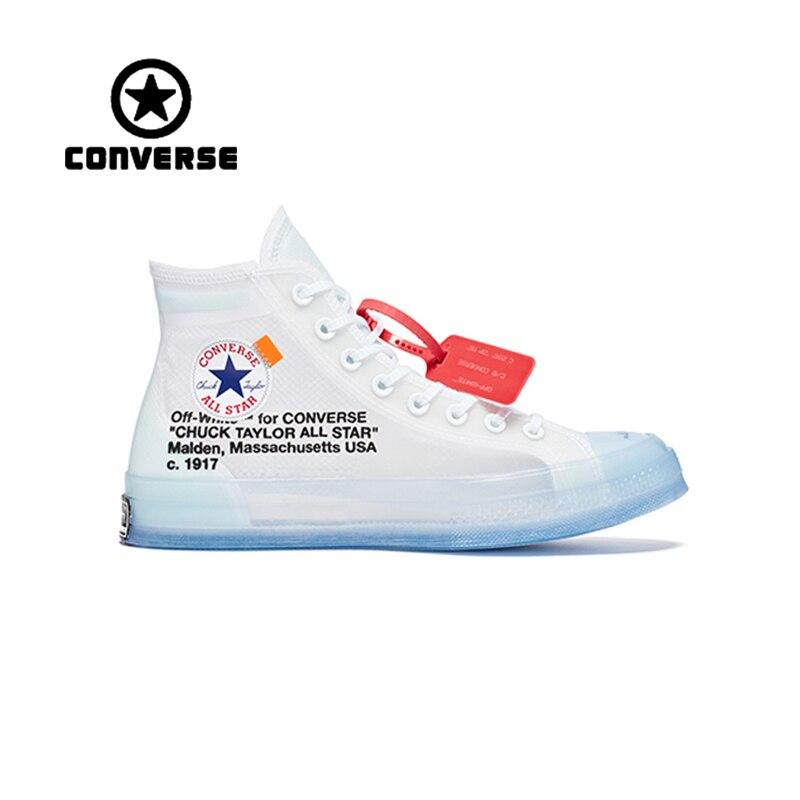 Аутентичные классический Конверс OFF WHITE высокие Скейтбординг обувь унисекс анти скользкие холст кроссовки дизайнерский спортивный 1970 s