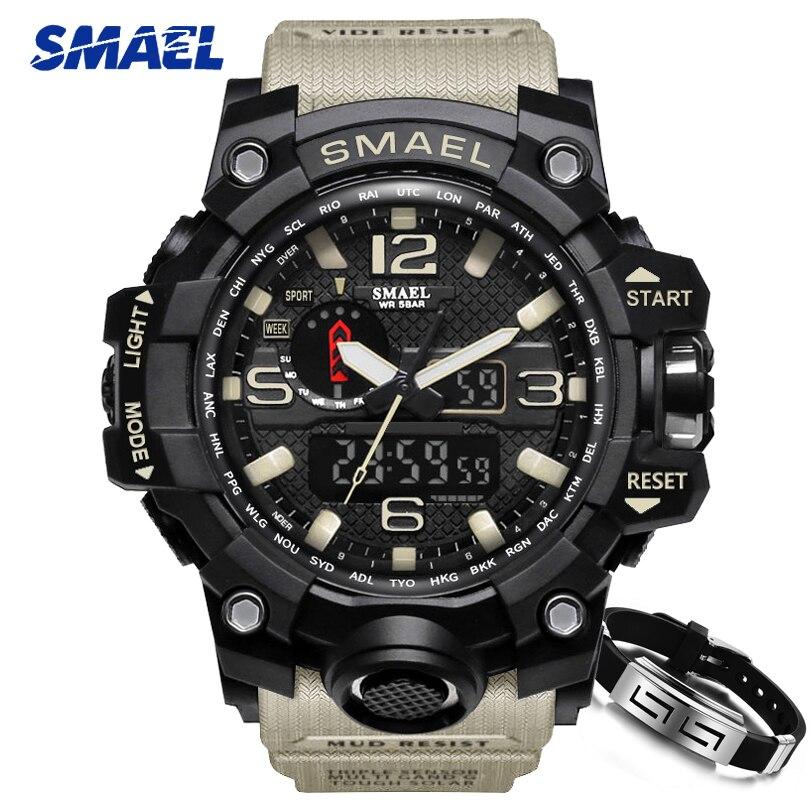 SMAEL los hombres de moda de marca deportes Relojes hombres analógico de cuarzo reloj militar hombre S Shock reloj de los hombres es de 1545 Relojes masculino