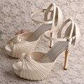 Bonito Dropshipping Sapatos de Mulher Sandálias Plataforma Salto Off white Satin Bombas de Casamento