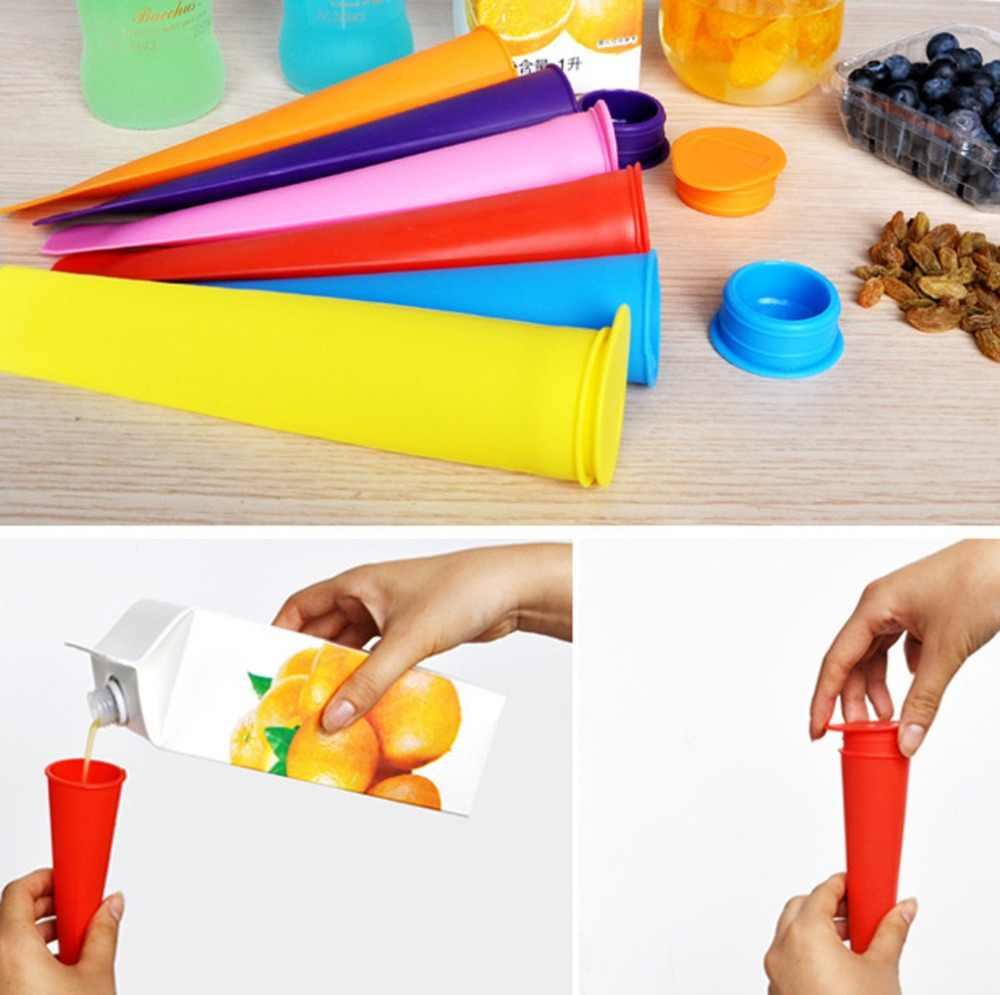 Diy جهاز تكوين الثلج سيليكون أنبوب صينية المصاصة العفن المجمدة الجليد كريم الزبادي العفن مع الأغطية الأطفال هدية لون عشوائي