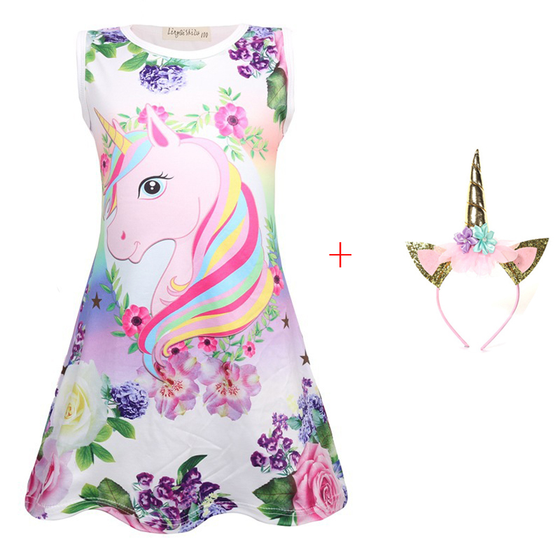 2019 New Summer Butterfly Girls Unicorn Dress Children Cartoon Floral Party Birthday Unicornio Dresses Kid Baby Princess Clothes