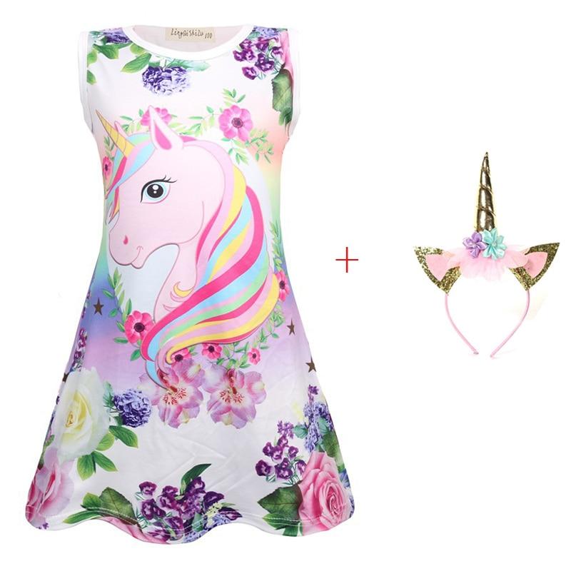 2019 New Summer Butterfly Girls Unicorn Dress Children Cartoon Floral