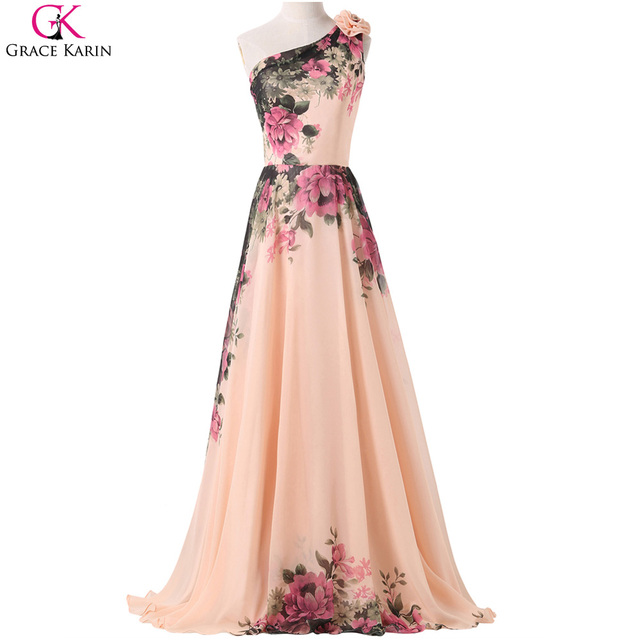 e2ed1d6ed4 Grace Karin One Shoulder Prom Dresses Chiffon Flower Pattern Floral Print  Long Party Dress Prom Plus