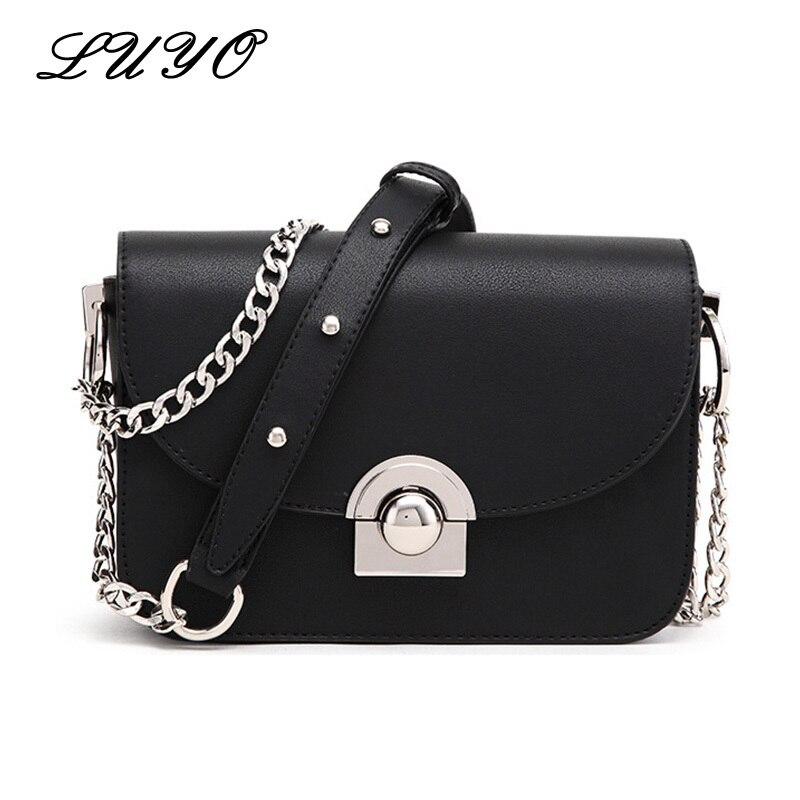 все цены на LUYO Summer Famous Brand Women Messenger Bag Chains PU Leather Girls Shoulder Bag Vintage Small Mini Flap Bag Bolsas For Female
