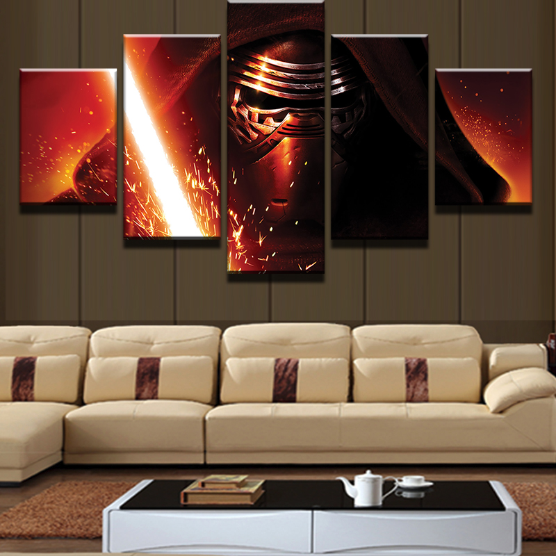 5 Pieces Star Wars Darth Vader Lightsaber Modern Home Wall Decor Canvas Picture Art HD Print Painting On Canvas For Living Room
