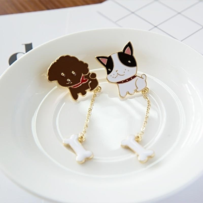 New Gold Color New Cute Teddy Bulldog Dog with Bone Brooch Pins,Fashion Jewelry Collar Metal Brooch Pins For Women Girls