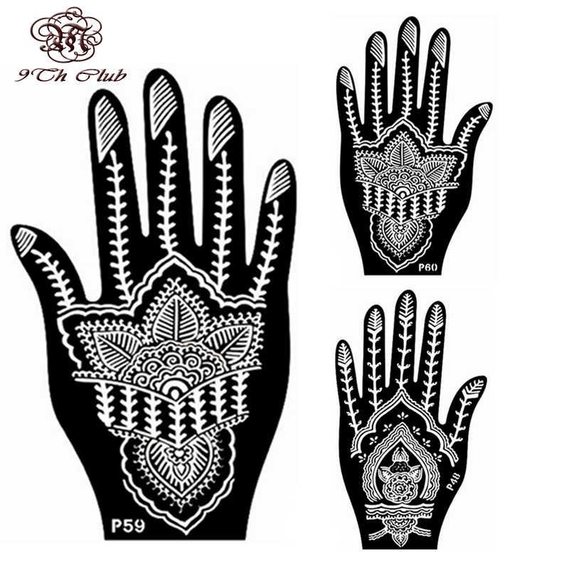 2 Pair Indian Henna Tattoo Stencil,Flower Hand Mehndi Henna