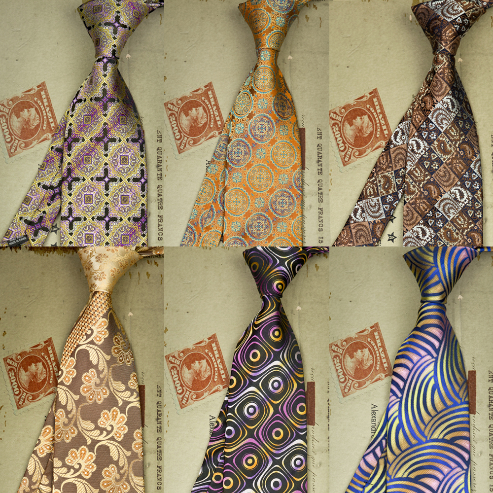Paisley Green Orange Turquoise Navy Blue Pink Red Yellow Purple Black Gray Grey Mens Ties Neckties 100% Silk Jacquard Woven New