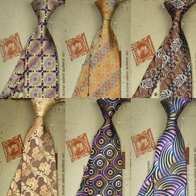 Cravates Paisley homme   Vert, Orange, Turquoise, bleu marine, rose, rouge, jaune, violet, gris, gris, tissé en Jacquard, 100% soie, nouveau