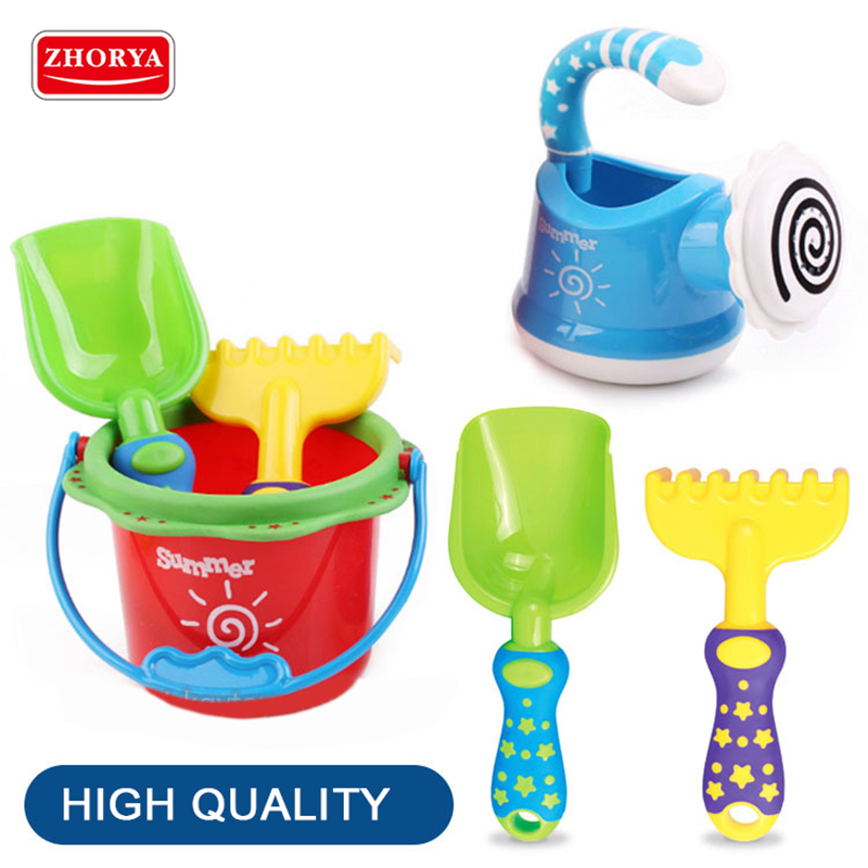 Zhorya Kids Sand Beach Toys Big Bucket Spade Shovel Rake Shower Water Tools Set Colorful Fish Model For Kids Toys Gift
