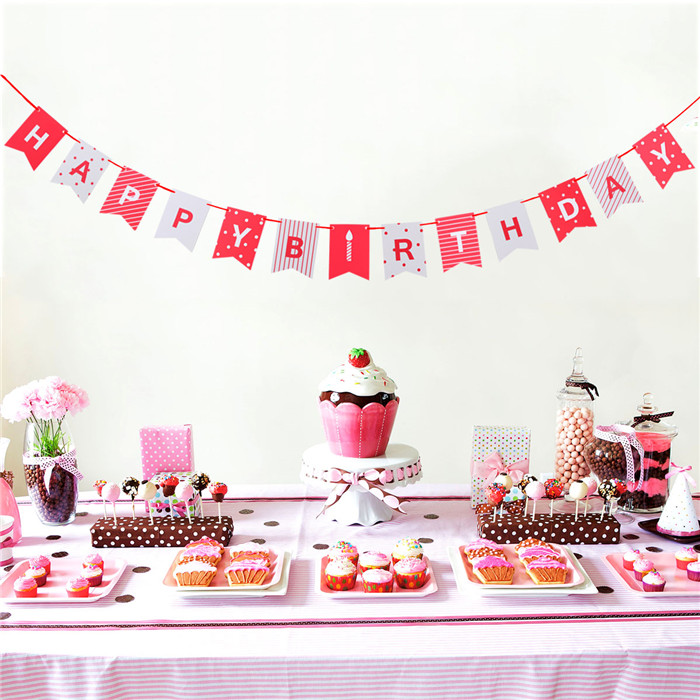 HAPPY BIRTHDAY Bunting Banner Party Decor Card With Red ...