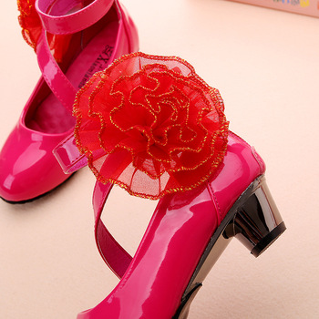 Flower Girls Leather Shoes Children Red Princess Sandals Fashion High Heels Wedding Dress Party Shoes Kids Summer Student Shoes