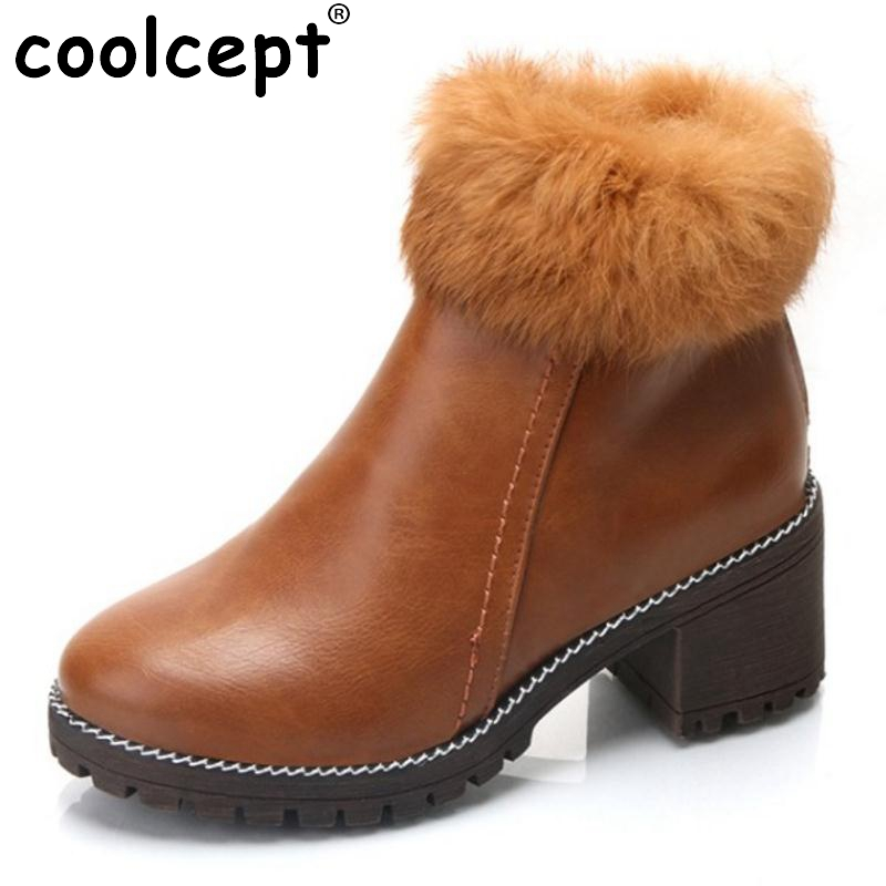 Coolcept Winter Shoes Women Thick Med Heel Ankle Boots Women Round Toe Zipper Warm Fur Inside Warm Winter Botas Size 35-39 women round toe thick heel ankle boots woman new fashion platform martin botas winter warm fur footwear shoes size 34 43