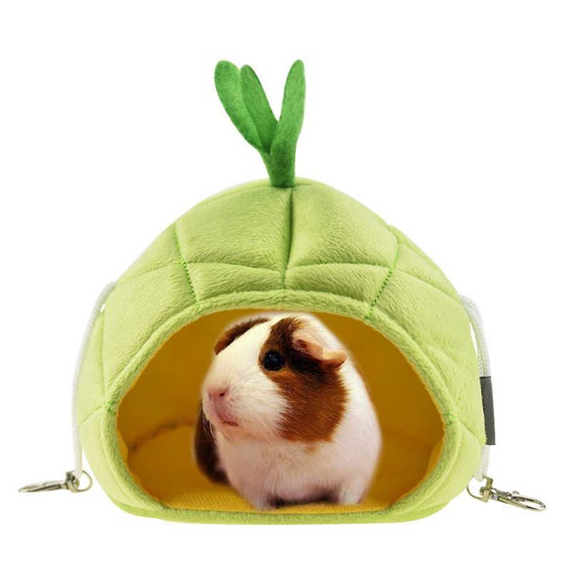 2 Colors Mini Pet Hammock Pineapple Shape Hamster Hedgehog Guinea Pig Hammock Creative Cute Pet Sleeping House Hamster Accessory