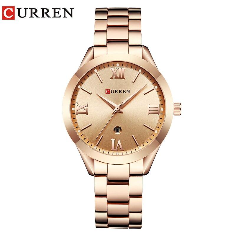 Curren reloj de oro rosa mujeres Relojes de cuarzo Top marca de lujo reloj muñeca reloj Relogio feminino Saat 9007