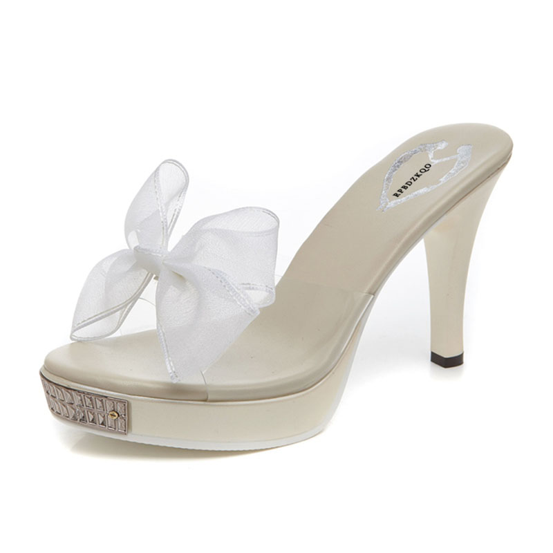 978d94819b4 White Pvc Lace Slides Open Toe Heels Fetish Platform Bow Women Pumps Thick  Shoes Cheap Sandals Transparent High Bowtie Korean