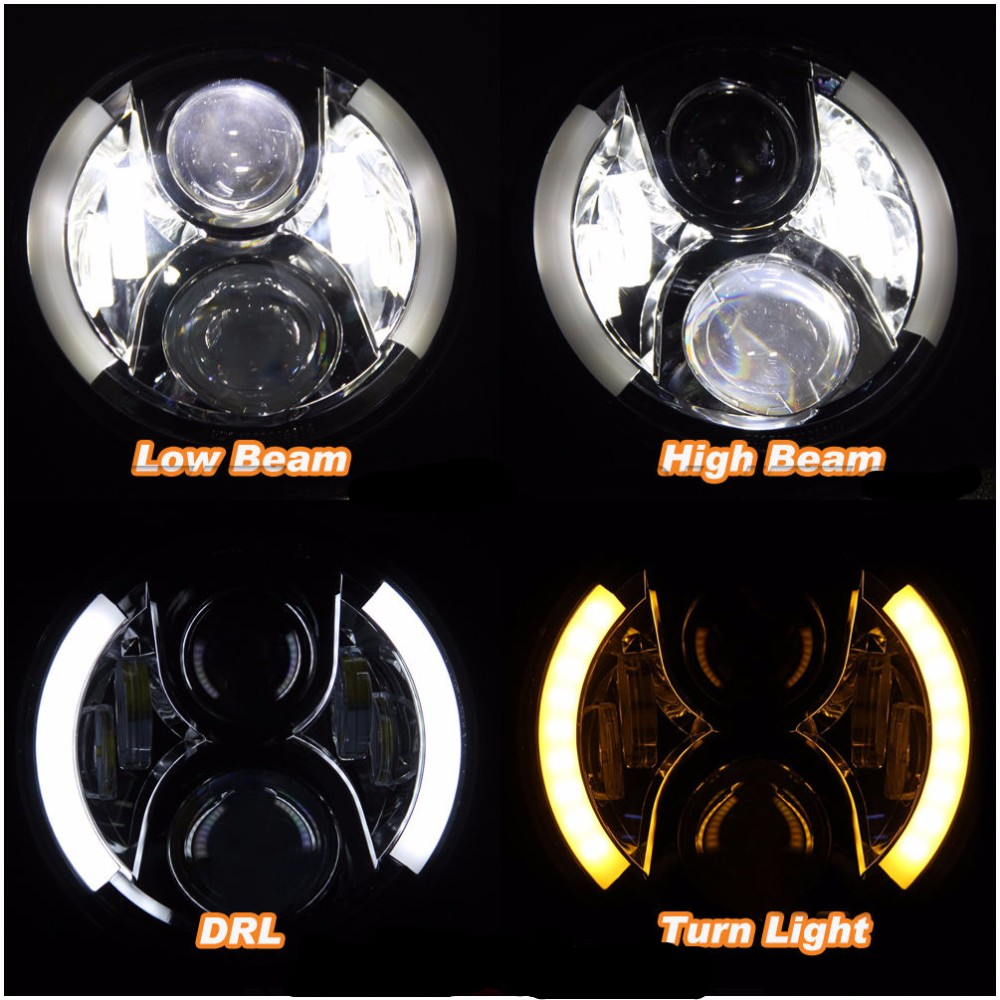 Round 60W 7INCH LED Headlight White yellow DRL Halo Angel Eyes For Jeep Wranglerl