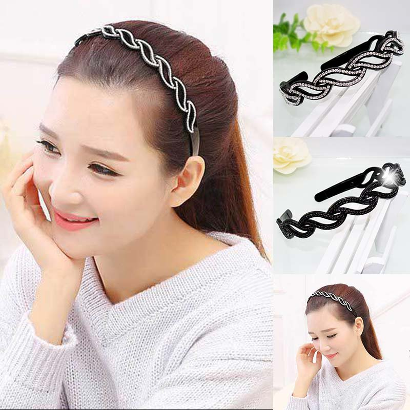 Gifts Colorful Rhinestone Headband Hair Accessories Colors Water Ripple Crystal Flower Non-slip Bezel 1PC 26 Hoop