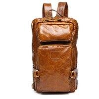 Genuine Leather students Backpack Men Large capacity Vintage Men's Backpacks high quality Male Luggage Shoulder Bag Travel Bag