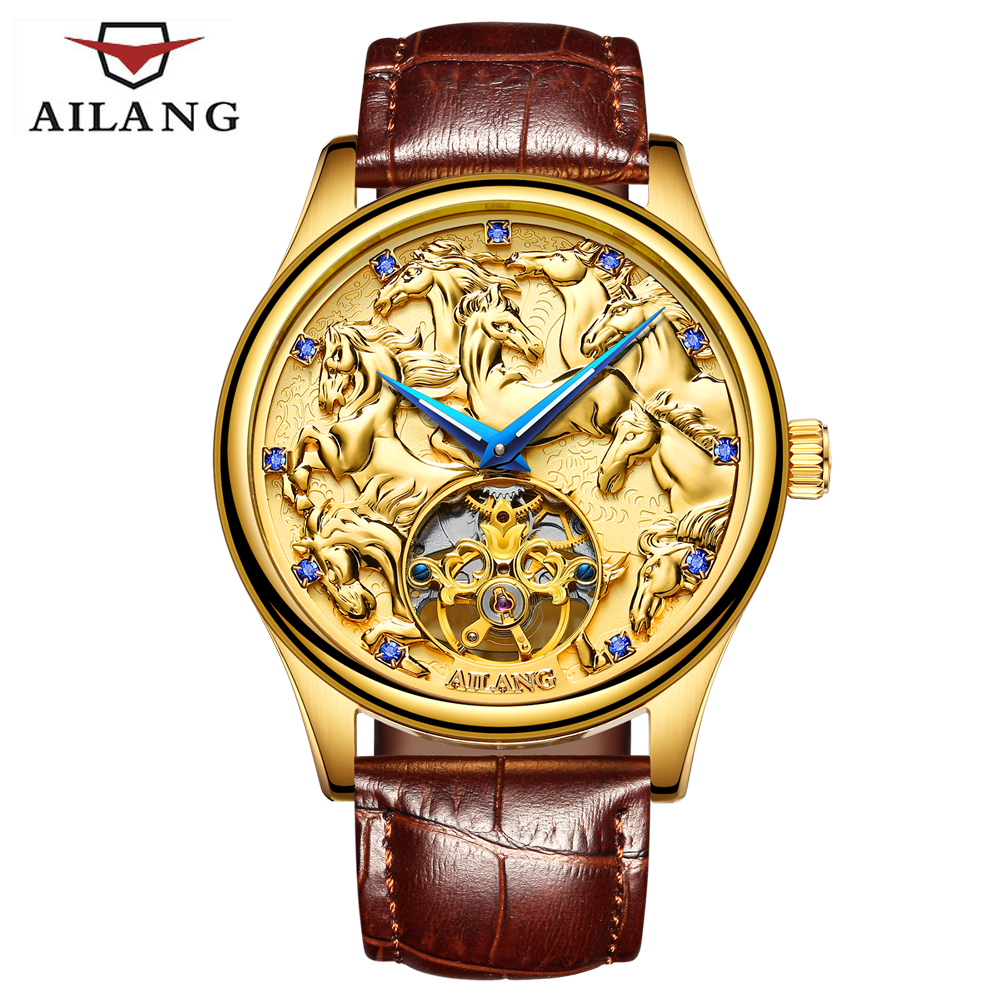 AILANG Mens Automatic mechanical Watches Men Top Brand Luxury Dragon horse Pattern Dial Sport Business Leather Wrist watches jam tangan pria gold original
