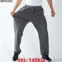 Bahar erkekler spor sweatpants artı boyutu büyük 6XL 7XL 8XL 9XL adam siyah pantolon streç pantolon elastik bel basit düz pantolon