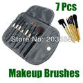 2014 Christmas Gift Makeup Brushes Christmas Gift 7PCS/Set Wooden Handle Makeup Brush Kits With Black Leather Pouch Balm Brush
