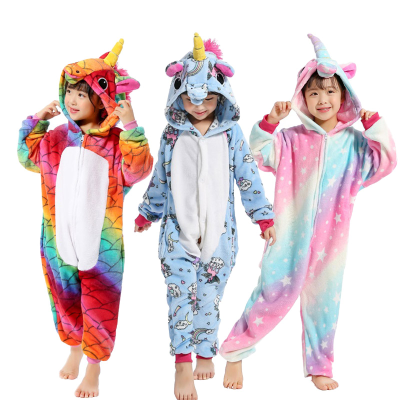 Boys Girls New Flannel Animal Pegasus Unicorn Cosplay Christmas Pijamas Winter Kids Stitch Pajamas Children Sleepwear Onesies
