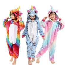 Boys Girls New Flannel font b Animal b font Pegasus Unicorn Cosplay Christmas Pijamas Winter Kids